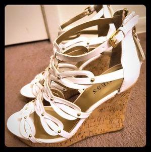 Guess White Platform Sandals
